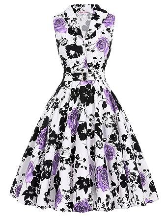 Farbe: Damen Kleider Partykleid Hepburn Stil mit Schoenen Blumenmuster S  BP003-2