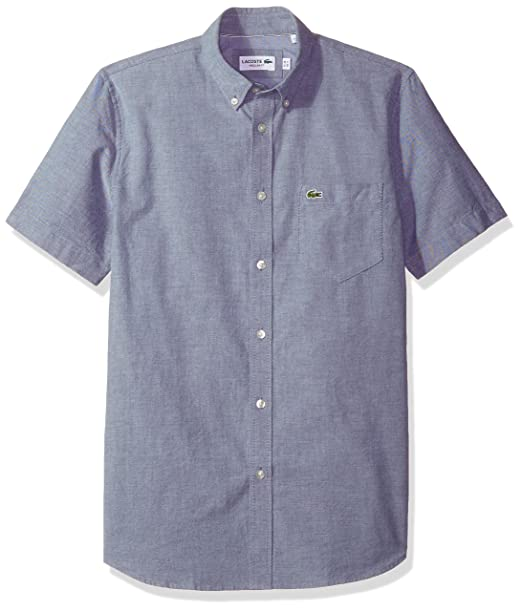 bc7da94645bd Lacoste Men s Short Sleeve Button Down Oxford Solid Shirt Regular Fit   Amazon.ca  Clothing   Accessories