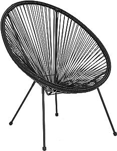 Flash Furniture Valencia Oval Comfort Series Take Ten Black Rattan Lounge Chair