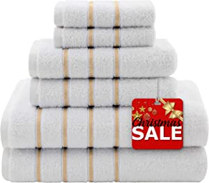 Dorlion 6-Piece Striped Towels Plush, Absorbent & Super Soft, Cotton Turkish Towel Set for Decorative Bathroom Dry Quickly - Taupe
