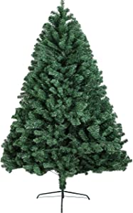 BHD BEAUTY 2020 New 5.95ft Hinged Artificial Christmas Pine Tree Holiday Decoration with Metal Stand, 1,000 Tips, Easy Assembly, for Outdoor and Indoor Decor