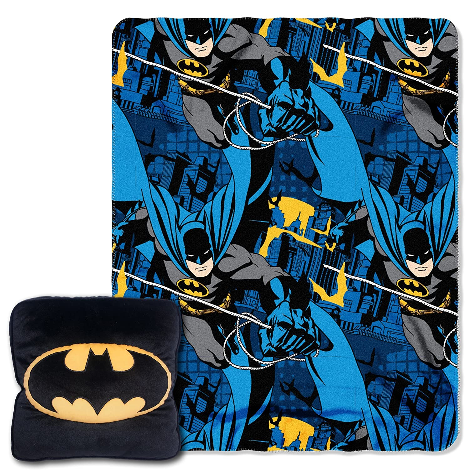 "Northwest Warner Brothers' Batman,Night Shield 3D 14"" by 14"" Pillow and 40"" by 50"" Fleece Throw in Pocket Set by The Company The Northwest Company 1BAT136000001RET"