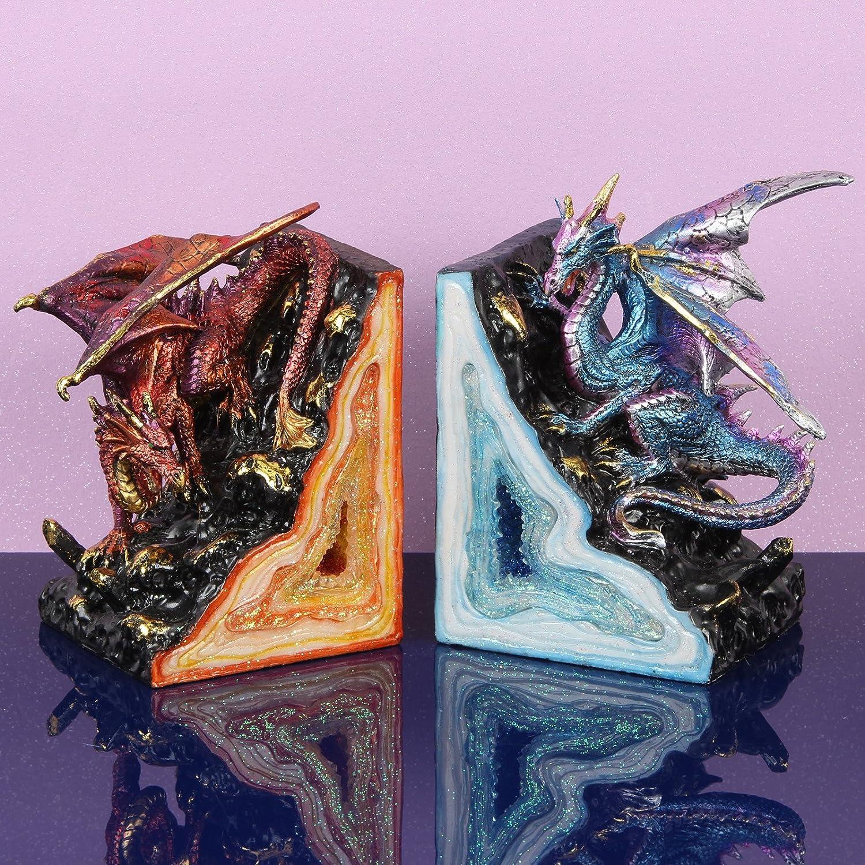 Fantasy Paire de serre-livres en forme de dragon Rouge et Bleu DIWW