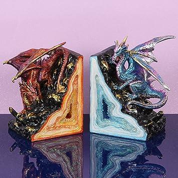 Fantasy Paire De Serre Livres En Forme De Dragon Rouge Et