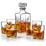 Italian Made 7-Piece Decanter Set - Whiskey Glass Lead Free Sophisticated Decanter with Beautiful Stopper and 6 Lovely Cocktail Glasses | Packaged in an Exclusive Gift Box 7 PC Decanter Set Seven Piece Set Clear