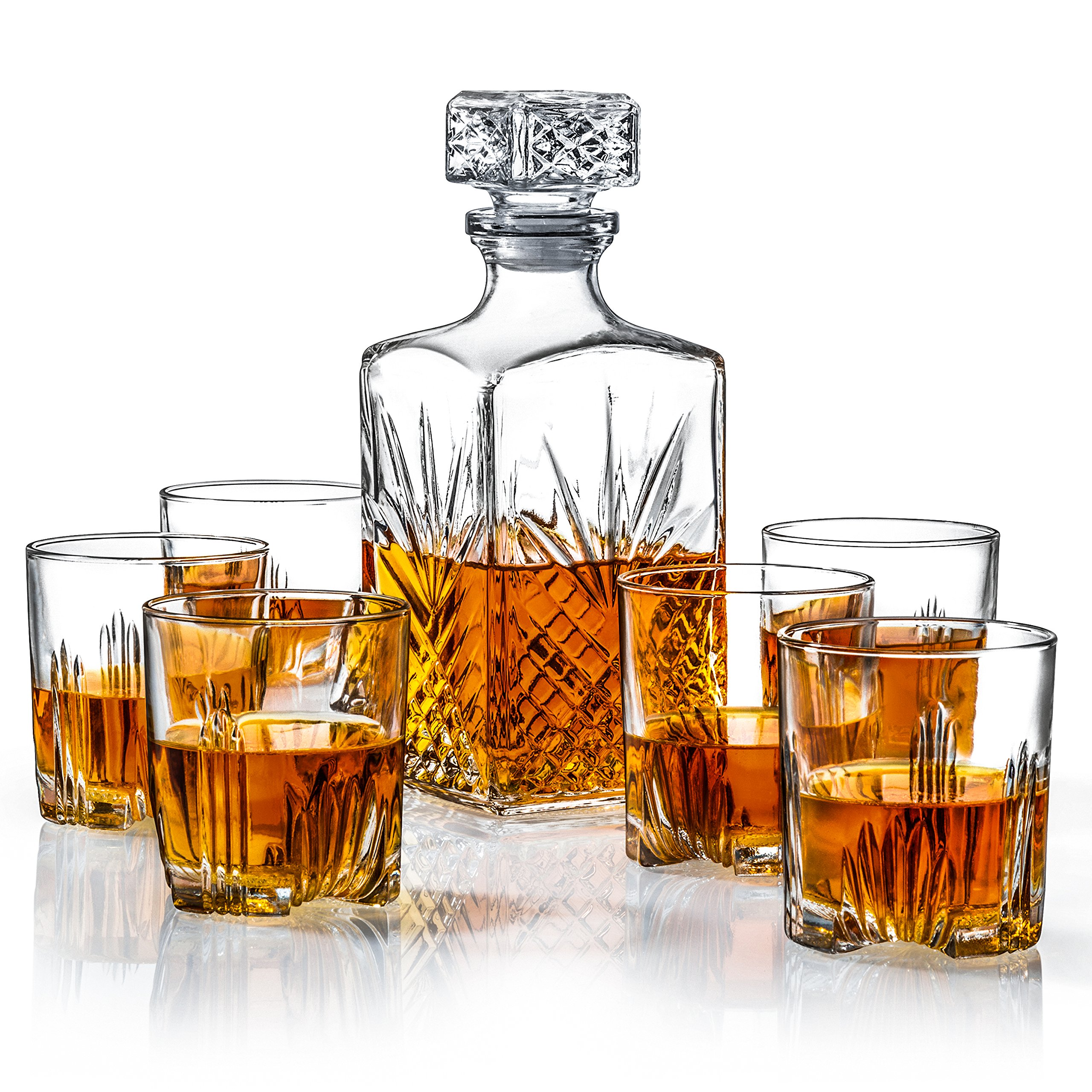 James Scott 7-Piece European Made Glass Decanter & Whisky Glasses Set, Sophisticated Whiskey Decanter with Beautiful Stopper and 6 Lovely Cocktail Glasses, comes in an Exquisite Gift Box