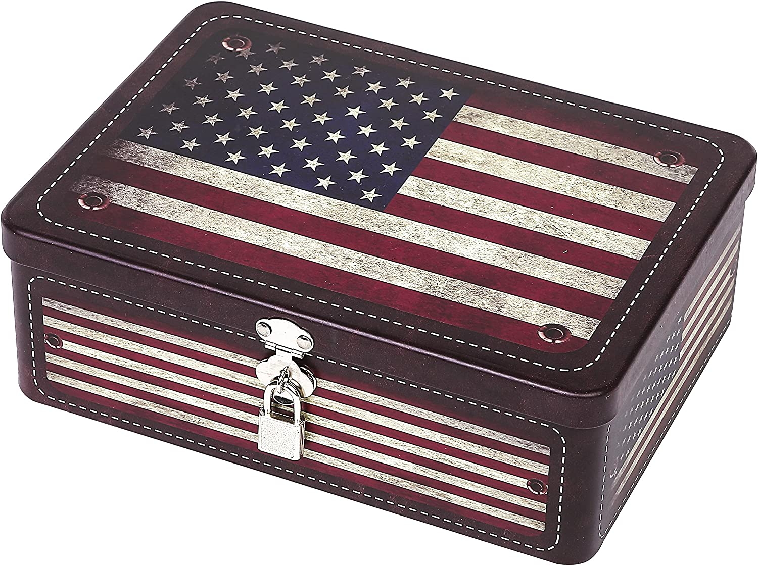 MyGift Retro Style American Flag Tin Storage Box with Padlock, Decorative Metal Organizer Case