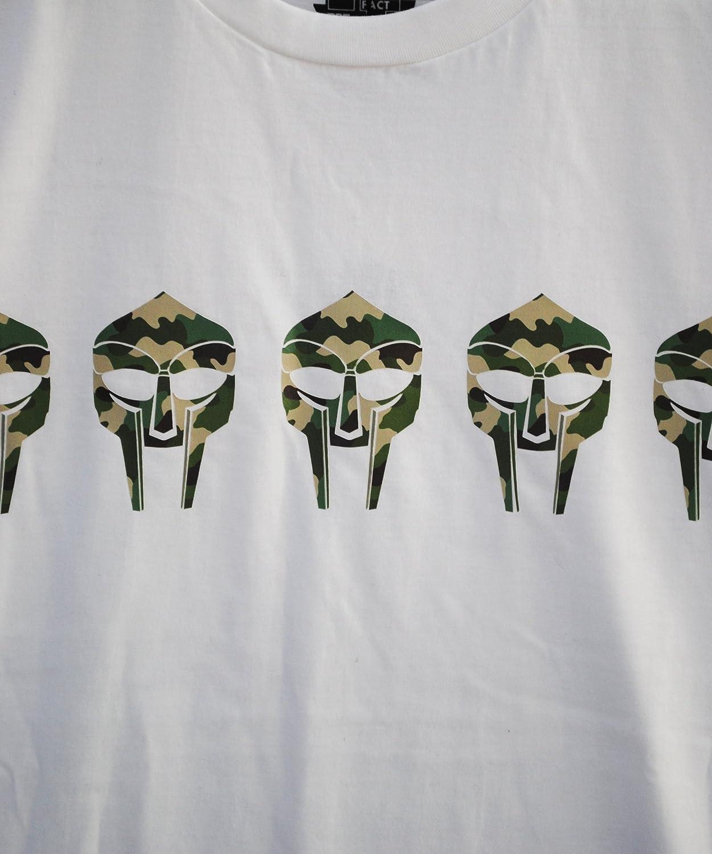 Actual Fact MF DOOM Camo Mask Men's Cotton Rap Hip Hop Premium White Tee T-Shirt