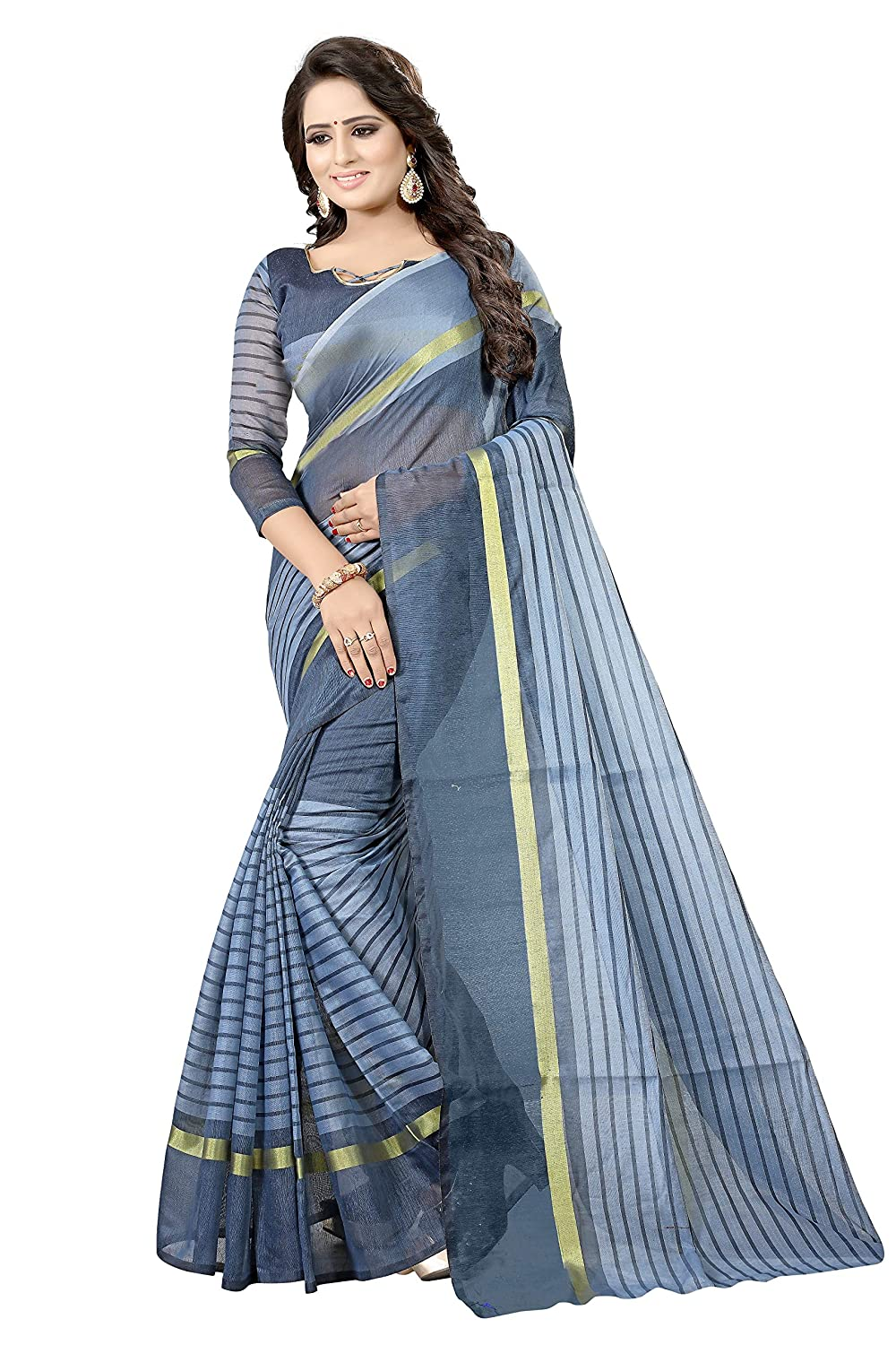 04213b3653 Florence Women's Firozi and Grey Cotton Silk Striped Print Combo Saree With  Blouse(FL-IF-Rustom Firozi and Rustom Grey_Free Size, Combo): Amazon.in: ...