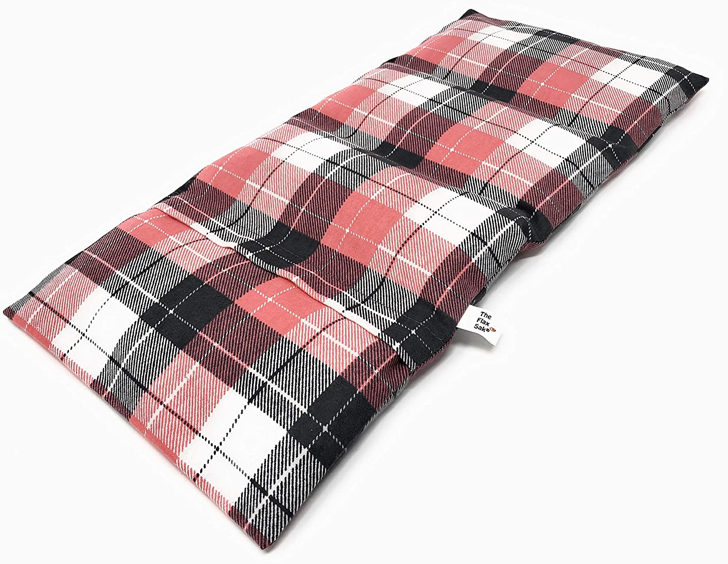 Unscented Large Microwave Heating Pad or Cold Pack with Washable Cover Coral and Grey Plaid by Flax Sak