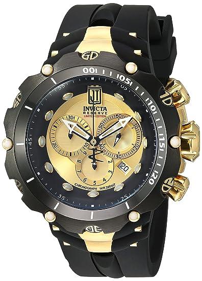 Invicta Hombre 52 mm Negro Banda De Silicona Acero Caso S. Sapphire Swiss Quartz Gold-Tone Dial Reloj 14416: Invicta: Amazon.es: Relojes