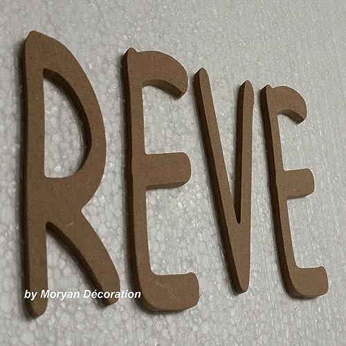 Lettre en bois decorative REVE, hauteur 20 cm: Amazon.fr: Handmade on