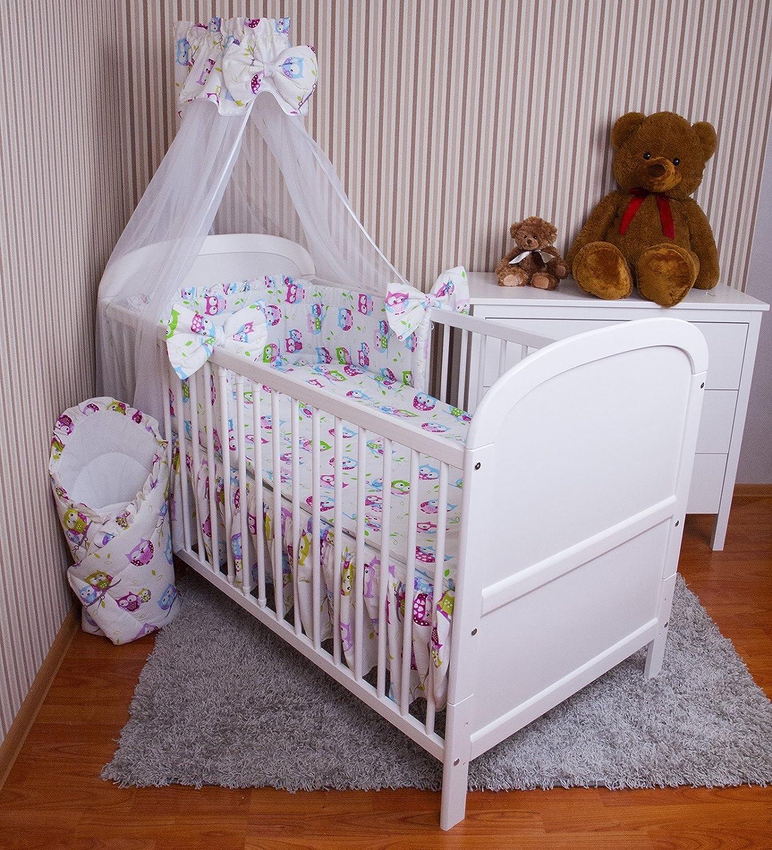 Amilian® Baby Bettwäsche 5tlg Bettset mit Nestchen Kinderbettwäsche Himmel 100x135cm NEU Eule Weiß Chiffonhimmel zieba