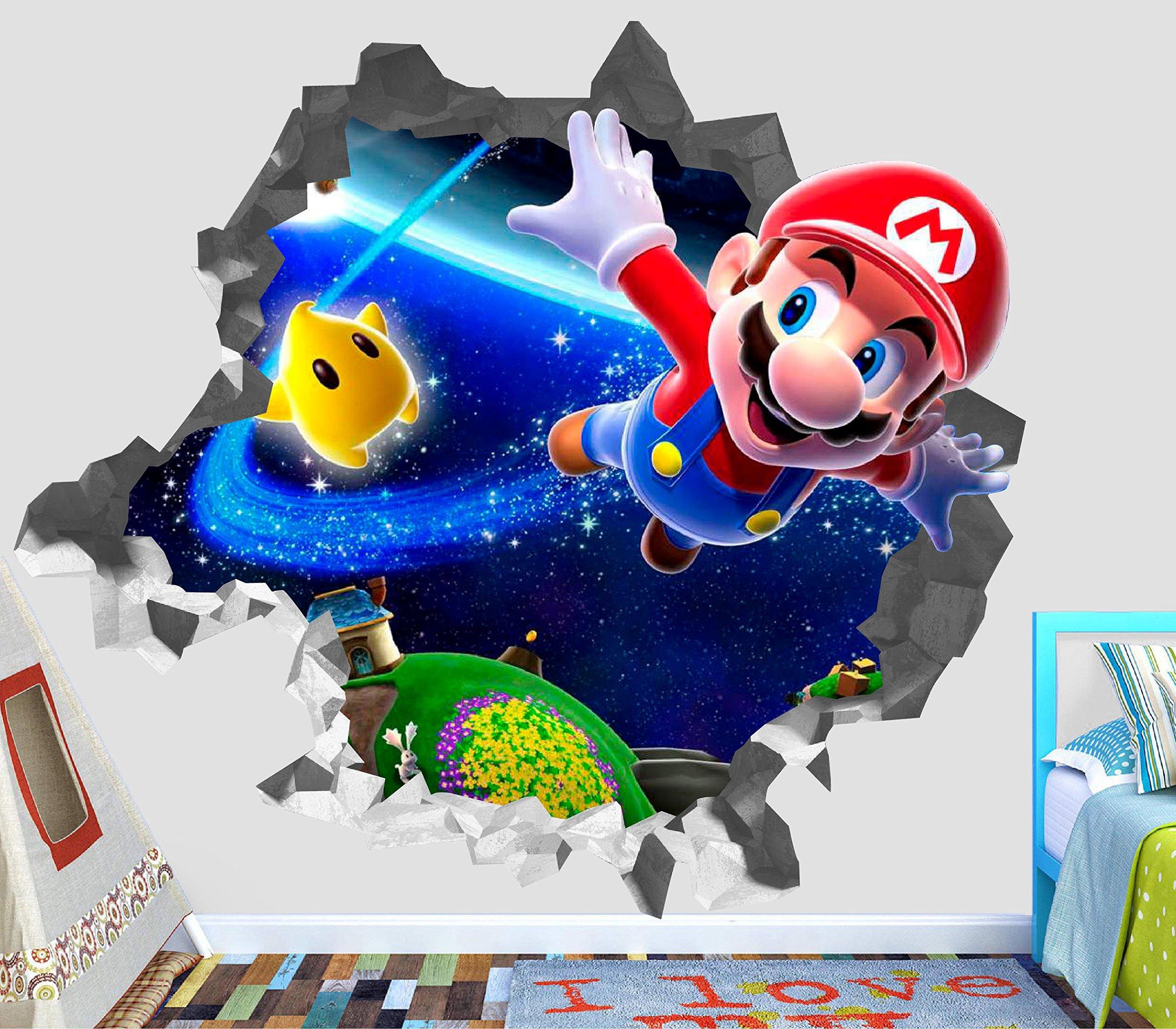 Super Mario Odyssey Adventure Wall Decal Smashed 3D Sticker Vinyl Decor Mural Games - Broken Wall - 3D Designs - OP388 (Small (Wide 22'' x 16'' Height))