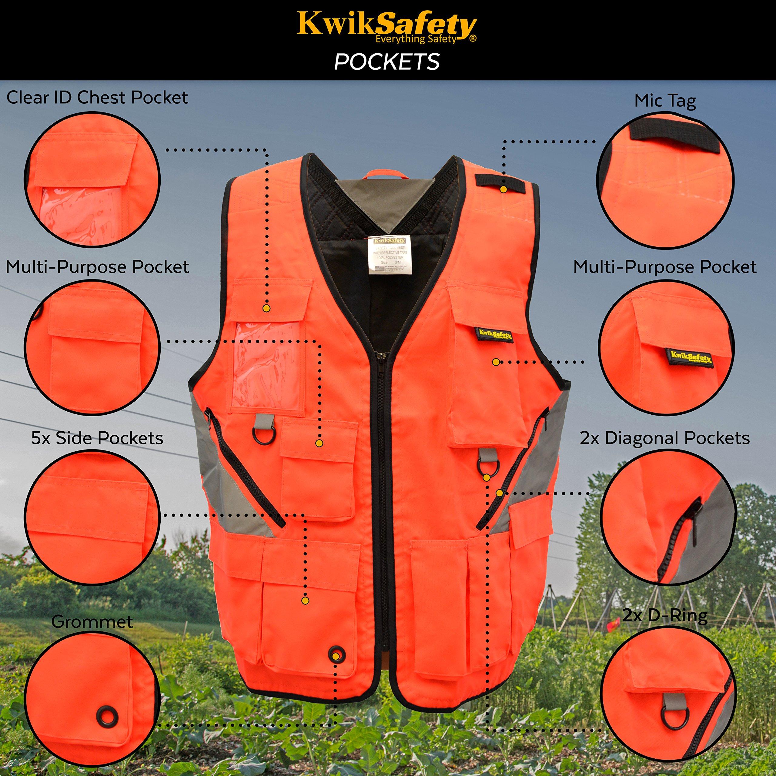 KwikSafety (Charlotte, NC) ARTISAN Tool Vest | Reflective Multi Pocket Lightweight Work Wear | Hi Vis Volunteer Emergency Crew Surveyor Carpenter Electrician Engineer | Men Women Regular | 4XL/5XL by KwikSafety (Image #3)