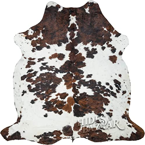 Tricolor Cowhide Rug Classic Brown, Black and White Color Mix, Natural Leather Hide, Area Rug 6x8ft