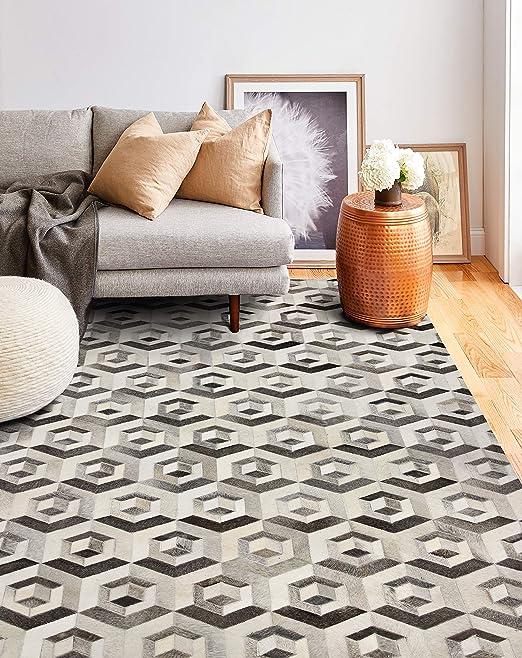 Living room rug Bedside Area Rug //Runner Cowhide Designer Patchwork rug