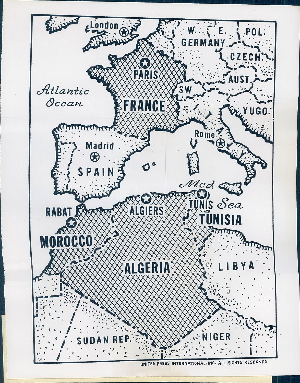 Mapa París de fotos de 1962 Argelia Francia España Marruecos política Charles de Gaulle: Amazon.es: Hogar