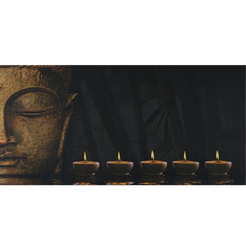 Mendler Poster LED a Pile con Timer Legno con Stampa in Tessuto 2, 5x110x55cm Buddha