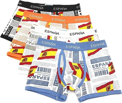 Channo Pack de 4 - Calzoncillos Boxer algodón Goma elástica Bandera de España: Amazon.es: Ropa y accesorios