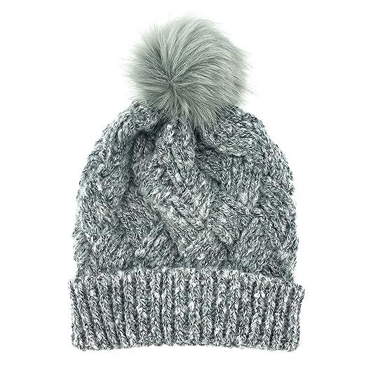 Amazon.com  accsa Women Winter Gray Cable Knit Fuzzy Fur Pompom Cuff Beanie  SKI Hat  Clothing 74b16b19fdd8