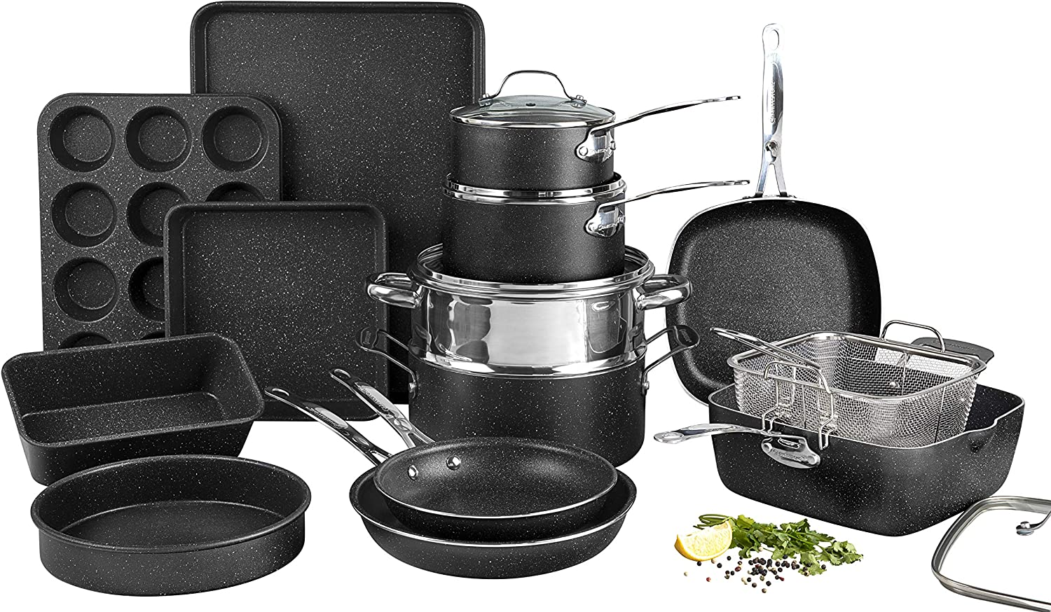 Amazon Com Granite Stone Pots And Pans Set 20 Piece Complete Cookware Bakeware Set With Ultra Nonstick 100 Pfoa Free Coating Includes Frying Pans Saucepans Stock Pots Steamers Cookie Sheets Baking Pans