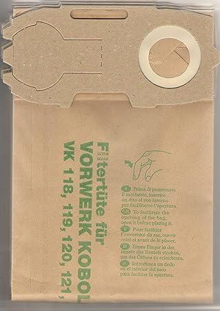FW1 bolsas de aspiradora, piezas de repuesto, compatible con aspiradoras Vorwerk (Folletto), modelos: VK 118/119/VK 120/121/VK 122/ET 31/ET ...