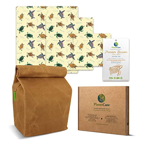 810dfc440d1c PlanetCare Premium WAXED CANVAS LUNCH BAG   BEESWAX WRAPS SeaTurtle  Edition  The ultimate ECO FRIENDLY