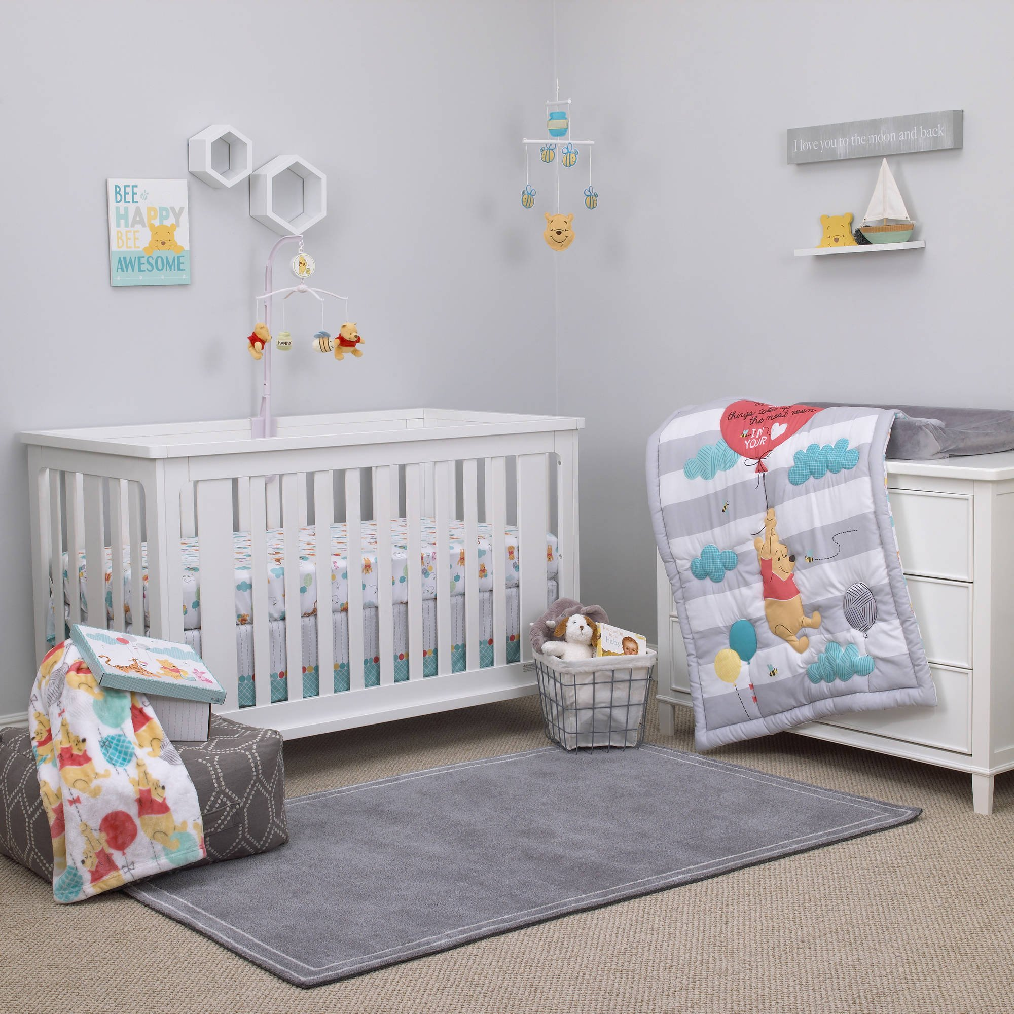 UK 4 Piece White Grey Aqua Baby Winnie the Pooh Crib Bedding Set, Newborn Disney Themed Nursery Bed Set Infant Child Eyeore Tigger Piglet Blanket Comforter Stripe Ballon Polka Dot Pattern, Polyester