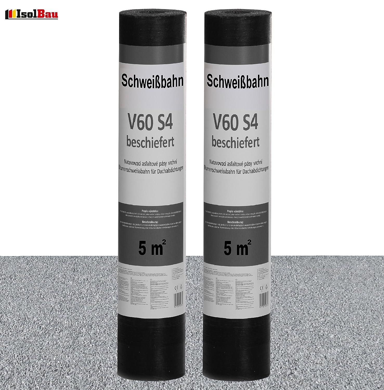 Schwei/ßbahn V60 S4 beschiefert 2 x 5 m/² GRAU Bitumenbahn Dachbahn Dachpappe