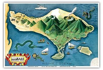 Indonesien Karte.Pacifica Island Art Karte Von Bali Indonesien Tanah