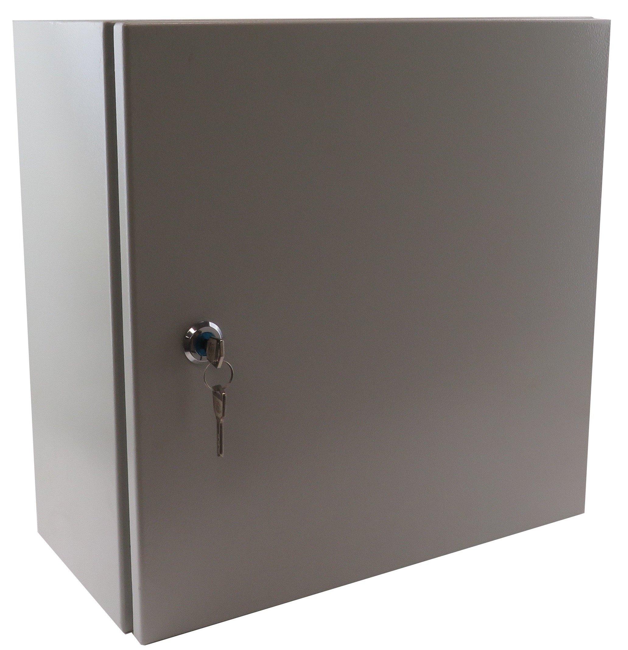 Yuco YC-16X12X8-UL-EL-2-KF IP66 Enclosure, UL Certified, Nema 4, 16 Gauge, Single Door Hinge Cover Wall-Mount, Standard Gray, Indoor/Outdoor, Backplate, Gland Plate, Lock and Key (16 x 12 x 8)