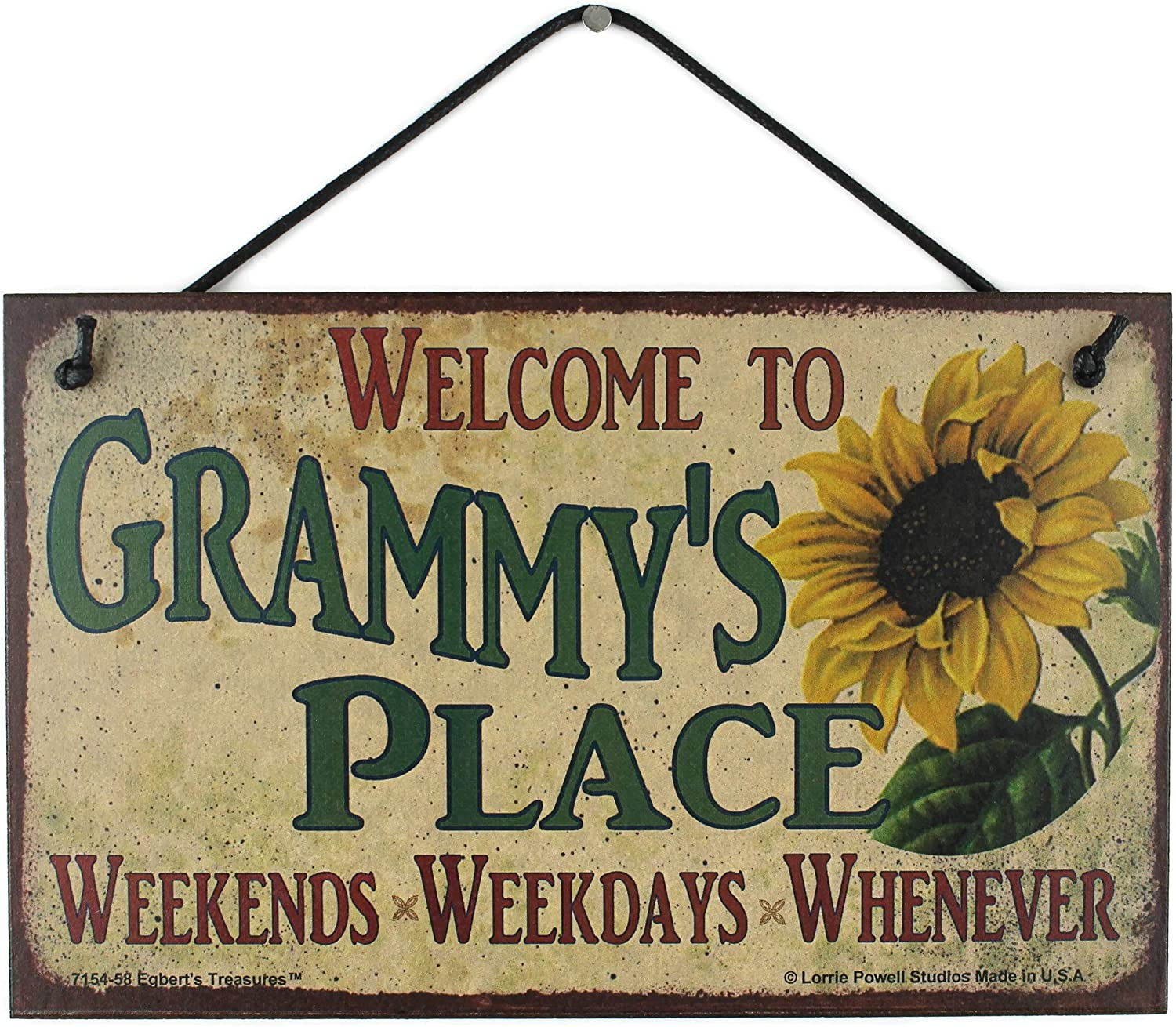 Egbert's Treasures 5x8 Vintage Style Sign with Sunflower Saying, Welcome to Grammy's Place Weekends, Weekdays, Whenever Decorative Fun Universal Household Signs from