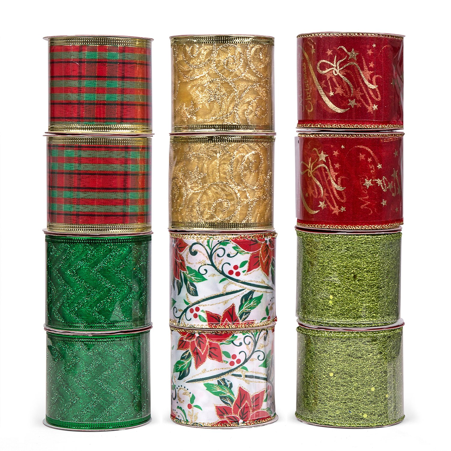 iPEGTOP Wired Christmas Ribbon, Assorted Shimmer Organza Glitter Gift Wrapping Ribbons Handcraft Decorations, 36 Yards (12 Roll x 3 yd) by 2.5 inch, Floral Poinsettia Plaid