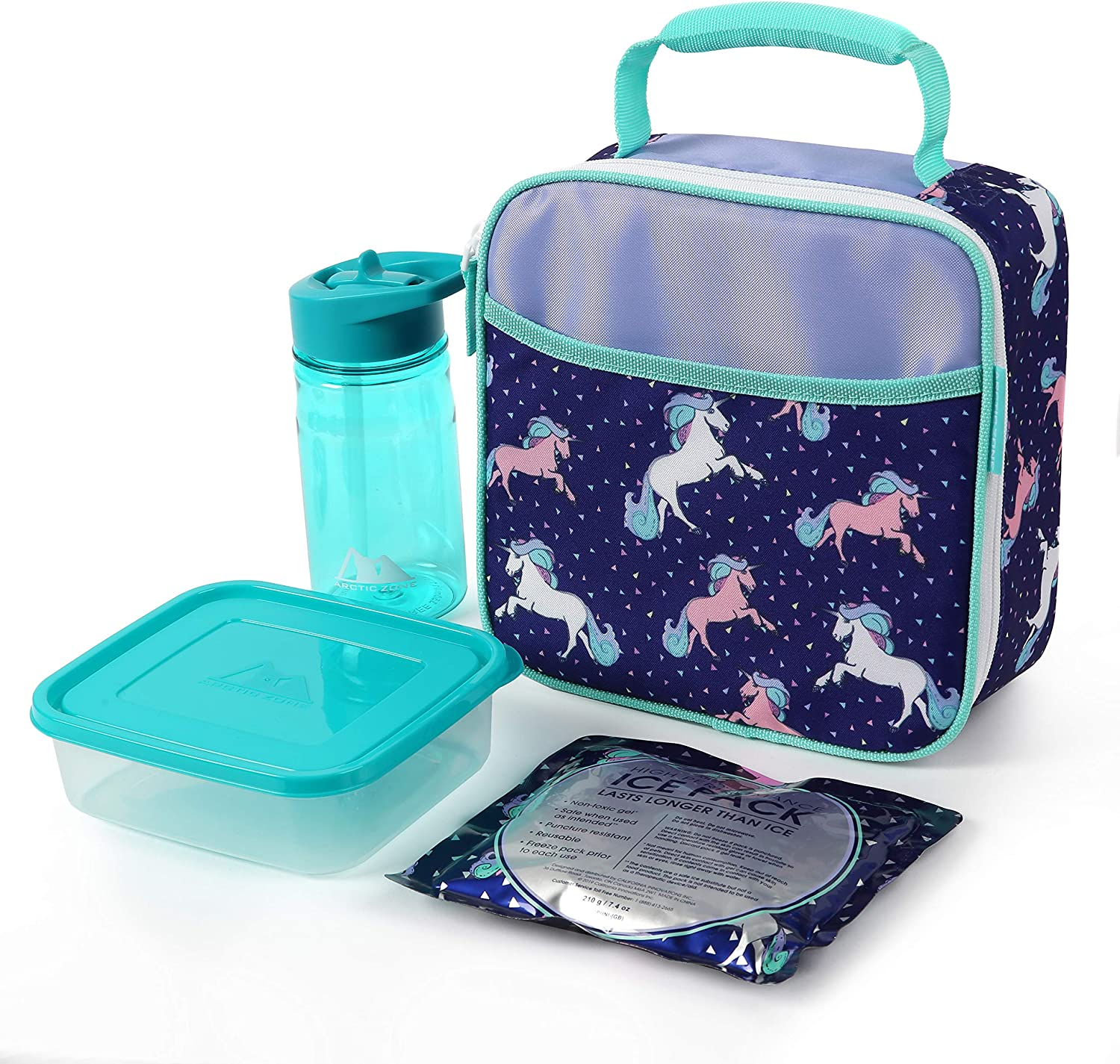 Arctic Zone Unicorn Lunch Kit Combo BPA Free Food Container Water Bottle and High Performance Ice Pack