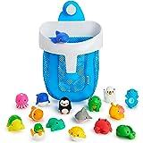 Munchkin Super Scoop Bath Toy Organizer and 16 Piece Bath Squirt Value Set, Value Set, Blue