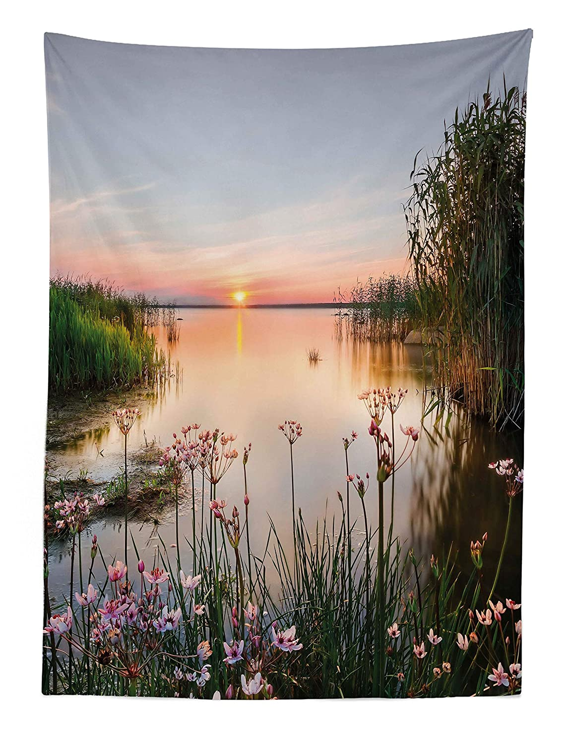 ABAKUHAUS Nature Tapestry Fabric Wall Hanging Decor for Bedroom Living Room Dorm 43 W X 58 L Sunset at Chudskoy Lake Estonia View Spring Flowers Landscape Photo Green Pale Pink Baby Blue