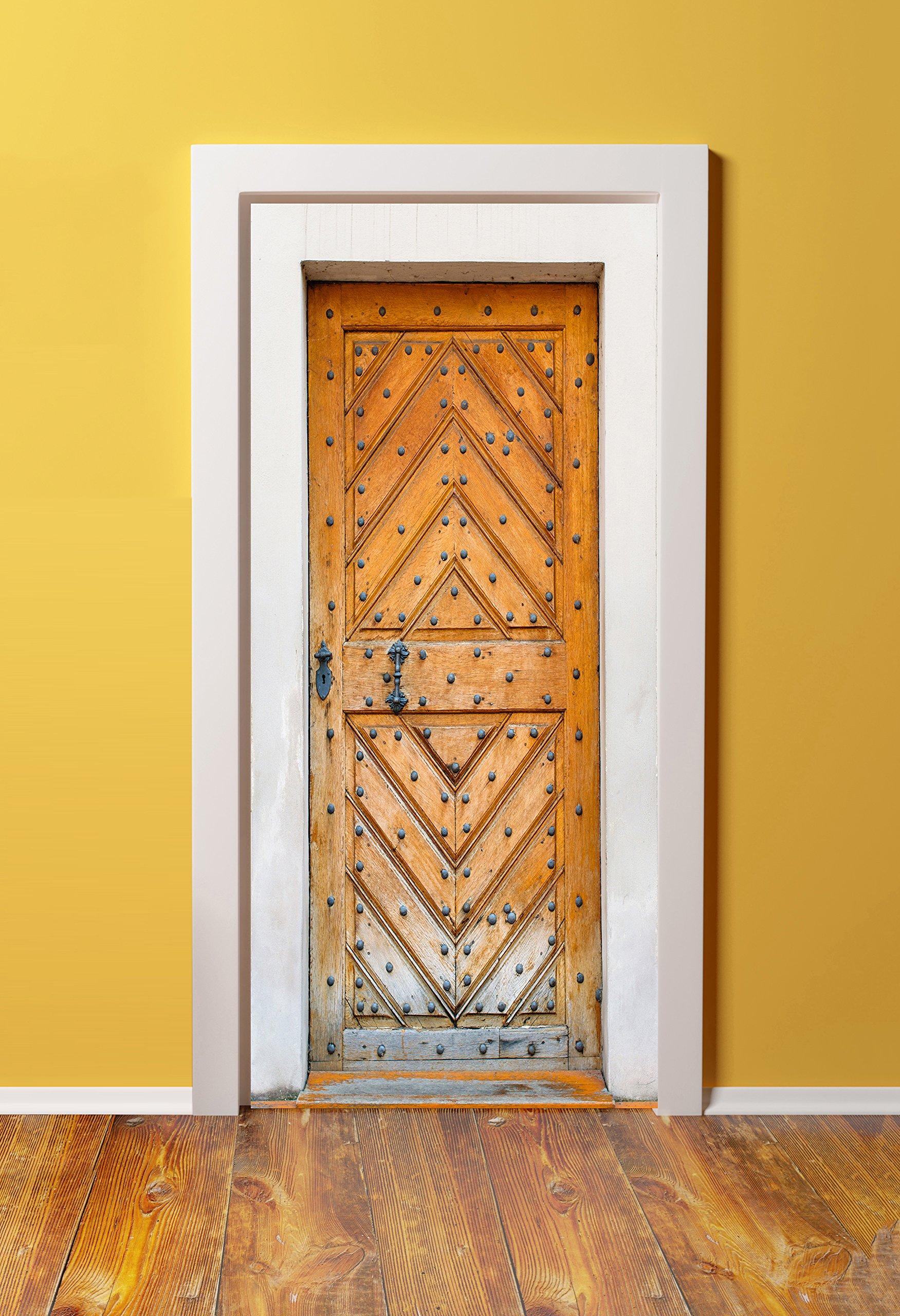DoorPix 36x80 / 36 x 80'' 3D Door Mural Wrap Glossy Bubble Free Sticker Antique Weathered Oak Door - PEEL and STICK - Easy-to-clean, Durable