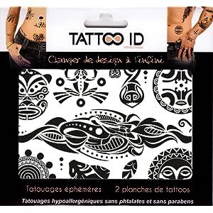 TATTOO ID MAORI TRIBAL tatouage ephemere temporaire hypoallergénique Fabriqué en FRANCE . 2 planches tattoos Homme Femme
