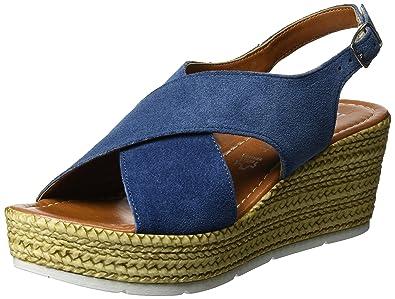 Marco Tozzi Premio Damen 28362 Offene Sandalen mit Keilabsatz, Blau (Denim  802), 5fbe64182b