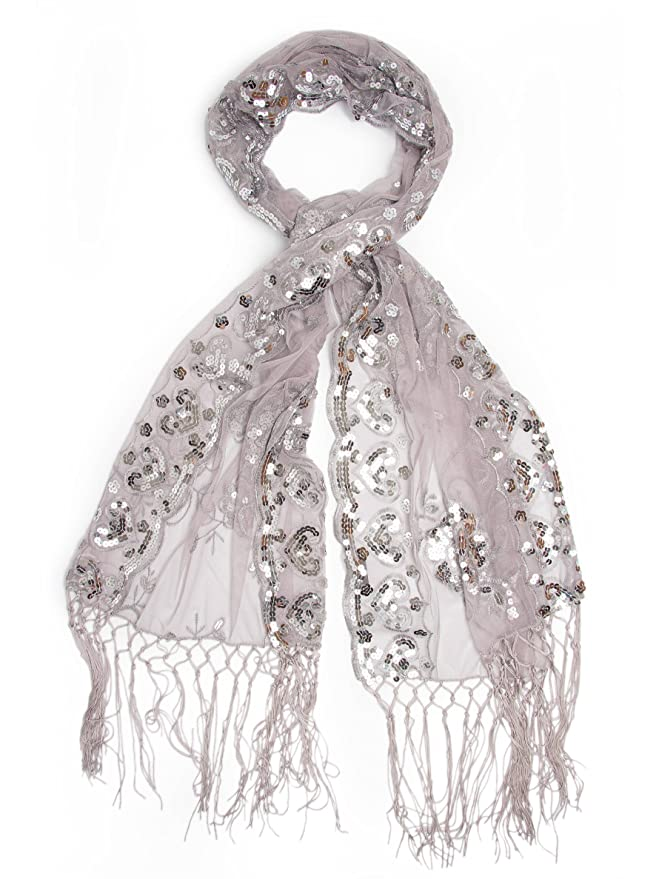 1920s Accessories Guide  Long Fringe Sequin Evening Wrap $18.95 AT vintagedancer.com