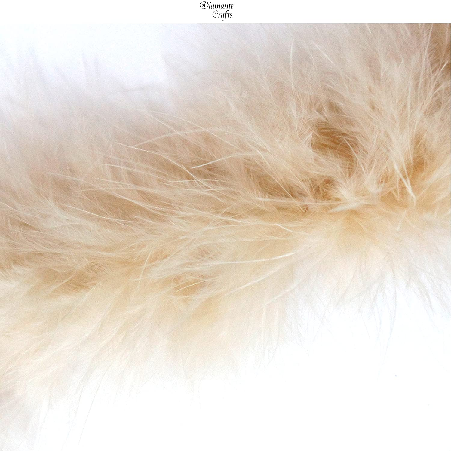 1 Metre - Marabou Swandown Feather Trim Soft & Fluffy Craft - Choose Colour (Natural - 1 Metre) Diamante Crafts
