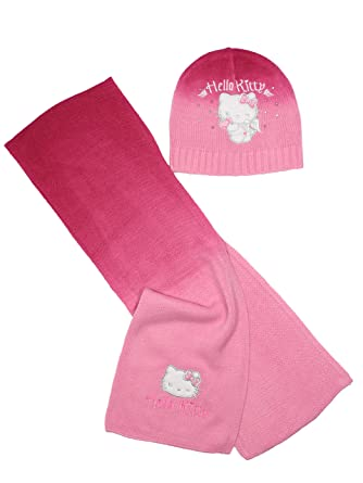75a4335de Hello Kitty Official Girls Winter Hat and Scarf Set: Amazon.co.uk: Clothing