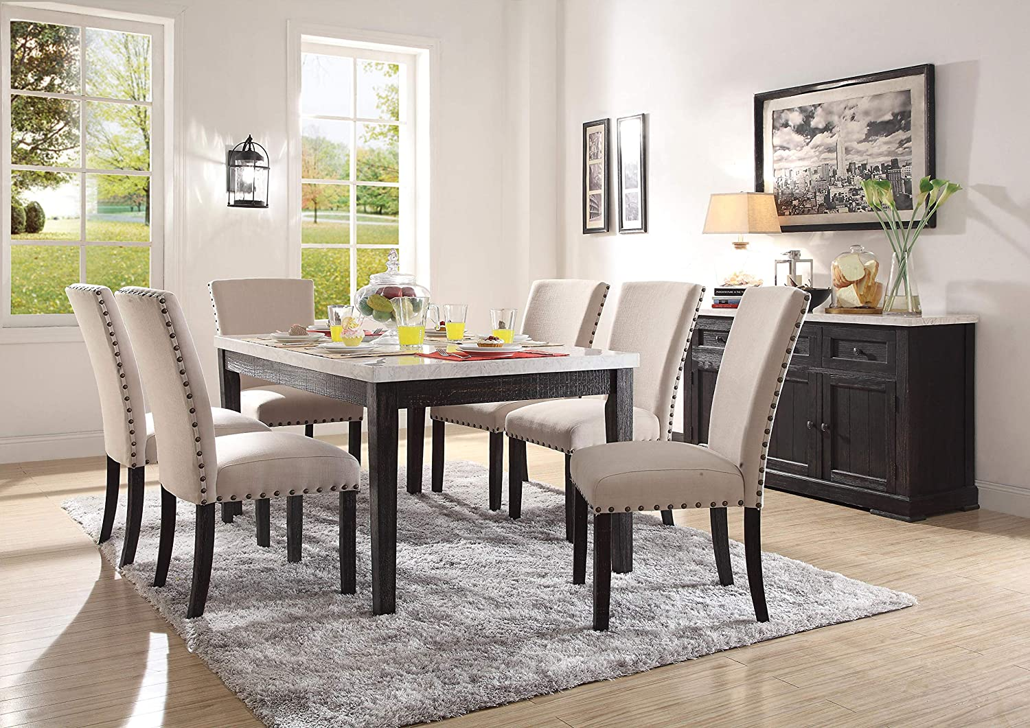 Superb Amazon Com Acme Furniture 72850 Nolan Dining Table White Caraccident5 Cool Chair Designs And Ideas Caraccident5Info