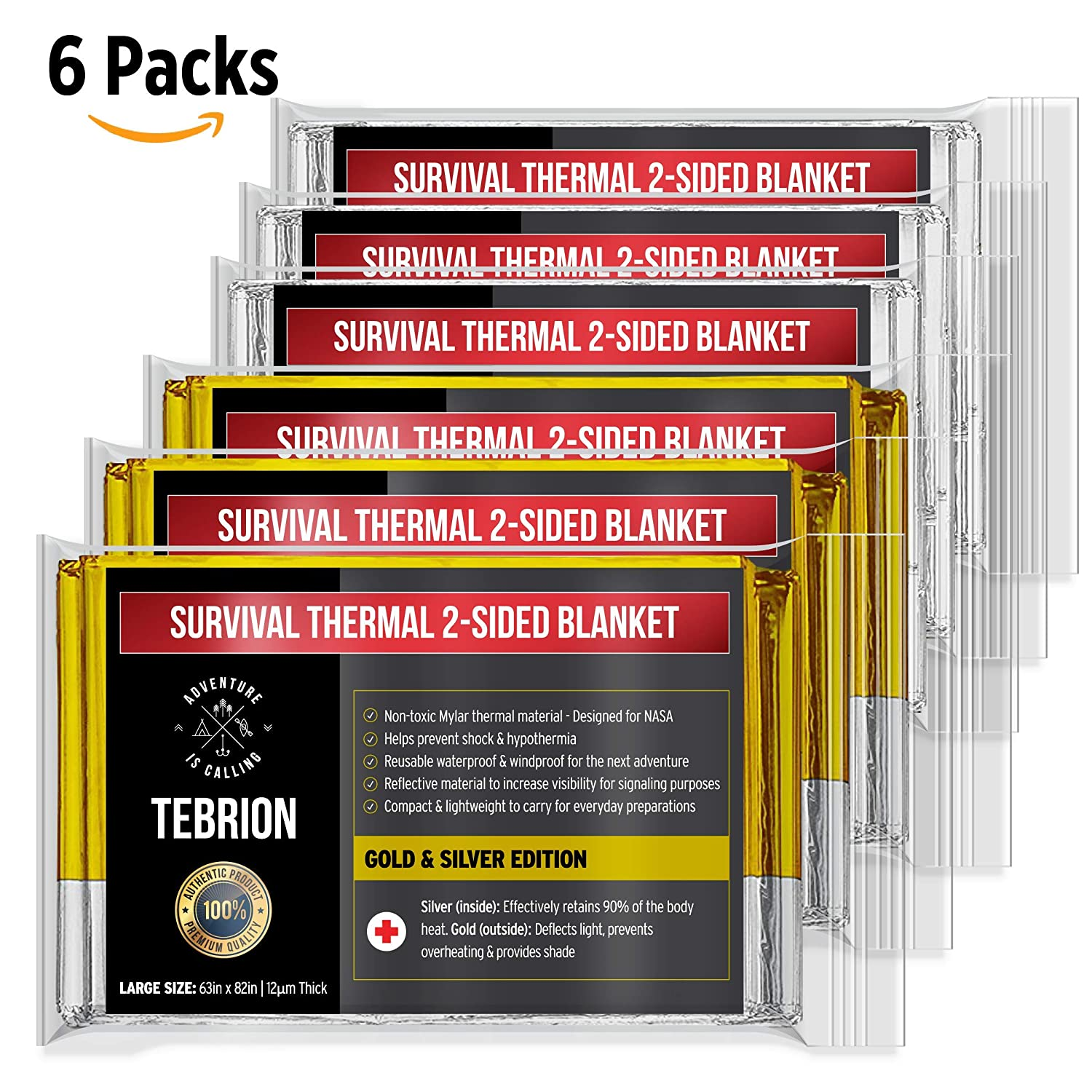 TEBRION XL Reusable Emergency Foil Authentic Mylar Thermal Blankets (XL 63