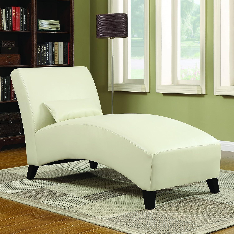 amazoncom handy living cara chaise in cream renu leather kitchen u0026 dining