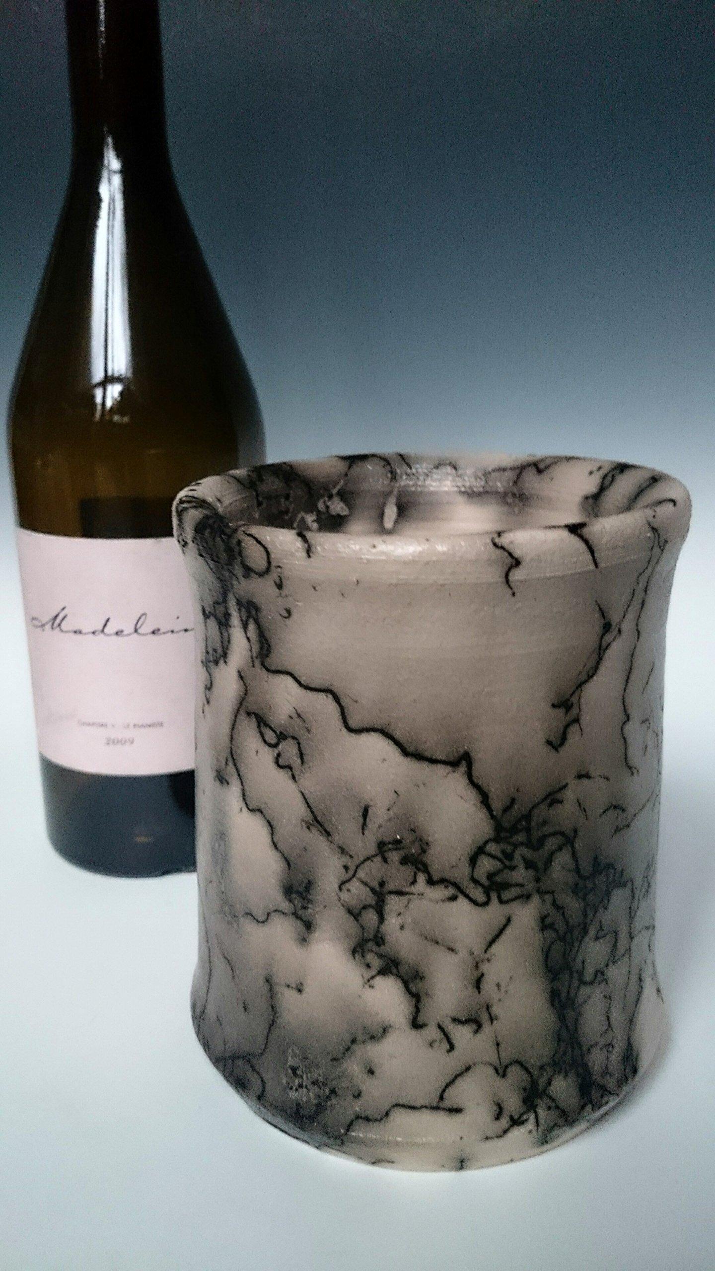 Wine Chiller ~ Horsehair Raku Pottery ~ Unique Handmade Ceramic for the Home