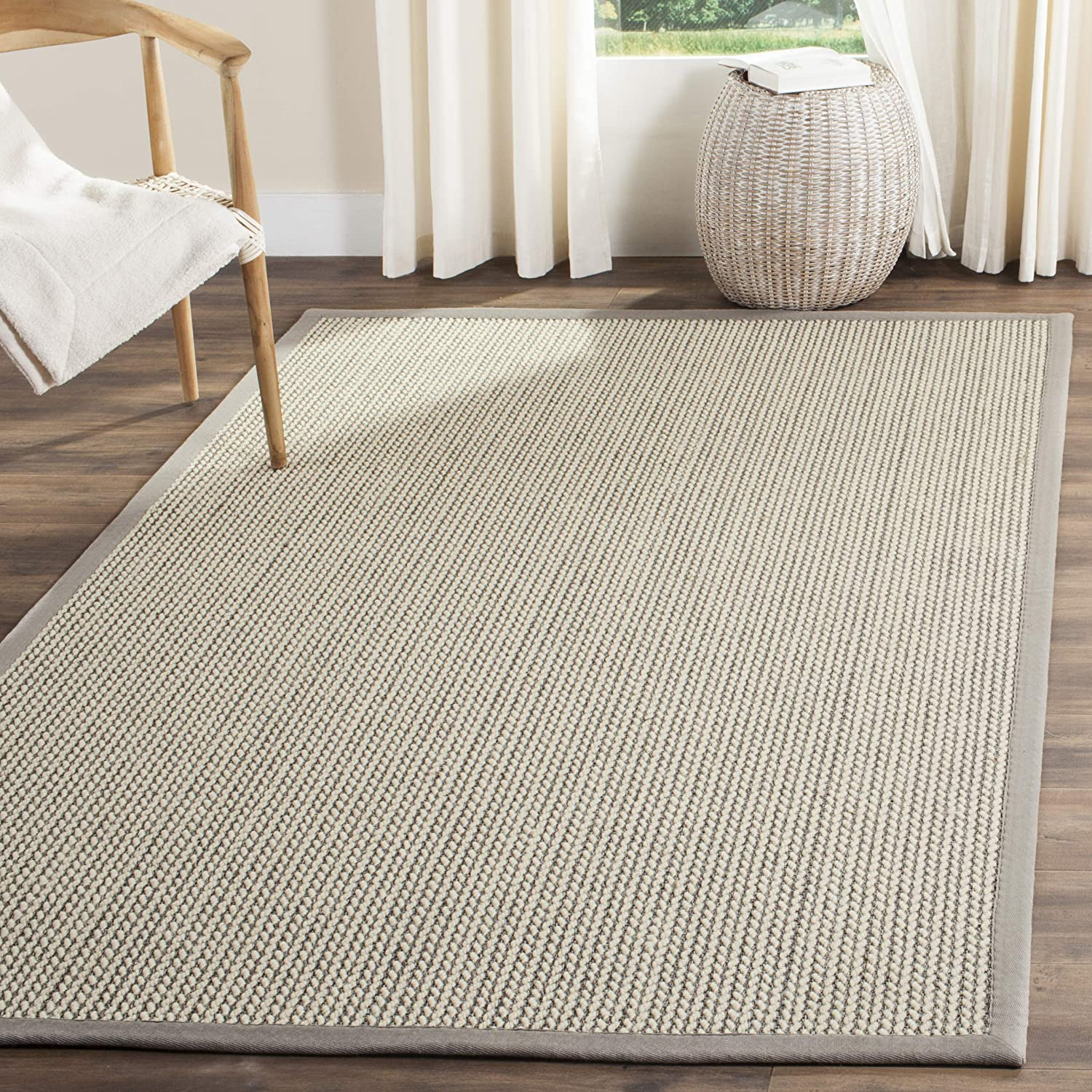 Safavieh Natural Fiber Collection NF475A Hand Woven Grey Wool & Sisal Area Rug (8' x 10')