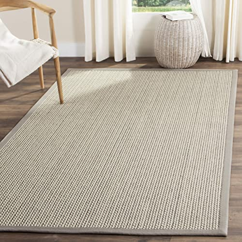 Safavieh Natural Fiber Collection NF475A Sisal and Wool Grey Area Rug 10' x 14'