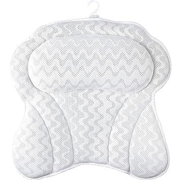 Coj/ín de ba/ño Evelyn Homes 4D Air Mesh Ba/ñera Almohada con 7 potentes ventosas y suave almohada de ba/ño para el cuello de la ba/ñera reposacabezas para mujeres y hombres
